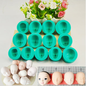 13pcs Silicone Mould Doll's Face Sugarcraft Cake Decorating Fondant Set Children Gift Early Education Toys