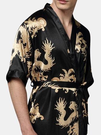 Mens Plus Size Retro Luxury Stain Japanese Kimono Chinese Dragon Ice Silk Sleepwear Robes