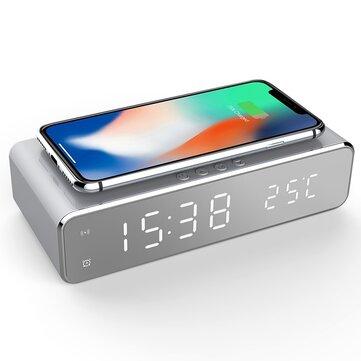 USB Digital LED Jam Alarm Meja Dengan Thermometer Wireless Charger Untuk Samsung Xiaomi Huawei