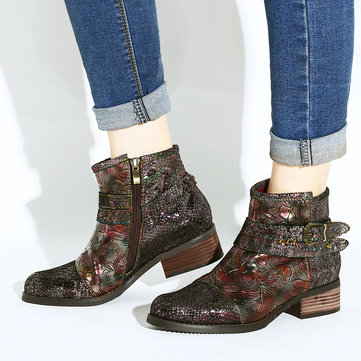 Socofy Women Embossed Stitching Metal Zipper Genuine Leather Ankle Boots