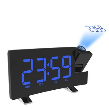 Wake-up Light Digital Projection Alarm Clock Loud LED FM Radio Snooze Sleep