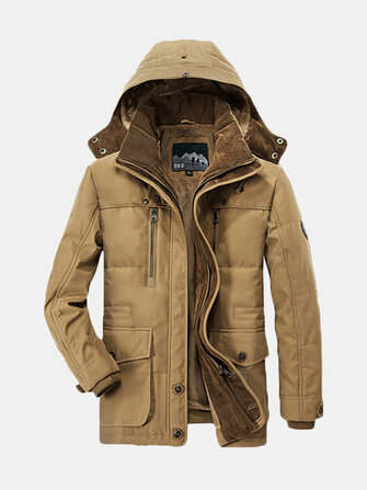 Mens Thick Fleece Winter Coat Hooded Outdoor Solid Color Jacket
