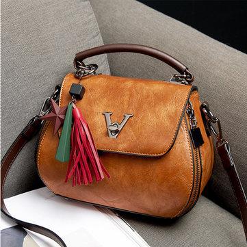 Vintage Elegant Tassel Bucket Bag Shoulder Bag Handbag Crossbody Bag For Women
