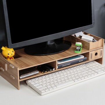 Multi-function Desktop Laptop Stand Computer Screen Riser Wood Shelf For Notebook TV
