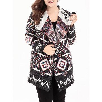 Women Ethnic Style Print Turn-down Collar Knit Cardigans