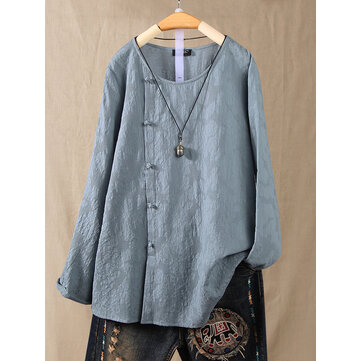 Women Chinese Style Vintage Frog Button Long Sleeve Blouse