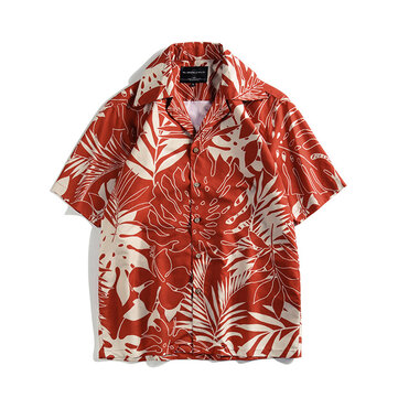 Women Summer Leaves Print Beach Holiday Short Sleeve Casual Blouse