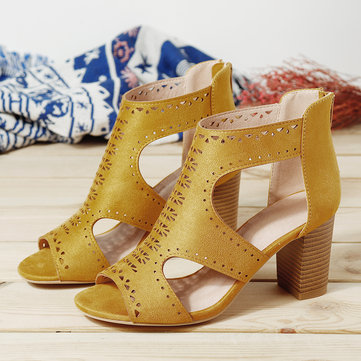 Women Hollow Out Solid Color Chunky Heel Pumps