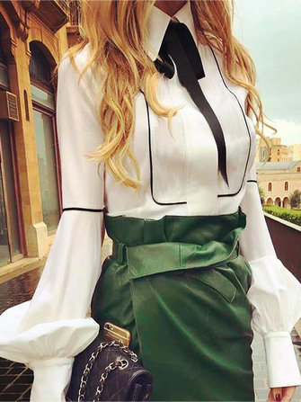 Women Puff Sleeve Bow-knot Blouse Formal Casual Long Sleeve Shirts