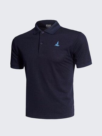 Bordado de color sólido ocasional para hombre Golf de secado rápido Camisa Tops de manga corta transpirables
