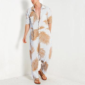 Men Leaves Printed Cotton Hawaiian Jumpsuit