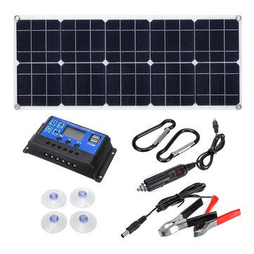 100W 18V MonocrystalineSolar Panel Dual 12V / 5V DC Caricabatterie USB Kit con controller solare 10A e cavi
