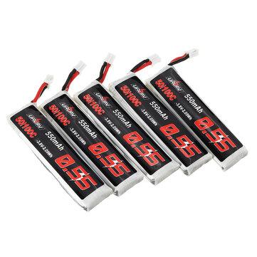 5Pcs URUAV 3.8V 550mAh 50/100C 1S HV 4.35V PH2.0 Lipo Battery for Emax Tinyhawk Kingkong/LDARC TINY Tinyhawk S Eachine Trashcan