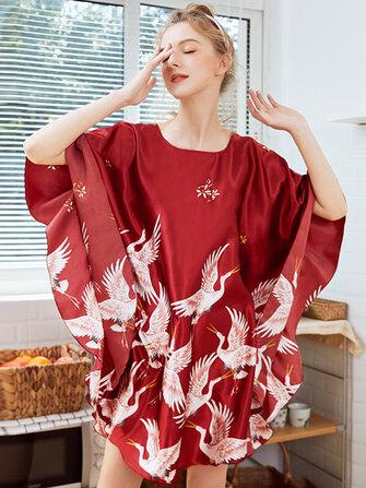 Overhead Loose Sleeve Crane Printing Silk Robes Nightgown