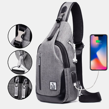 Men Large Capacity Fashion Casual USB Waterproof Oxford Chest Bag Shoulder Bag Crossbody Bag Outdoor Daily