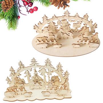Loskii JM01692 DIY Navidad Juguete de madera Navidad Fiesta divertida Decoraciones de escritorio Adornos de madera de Navidad