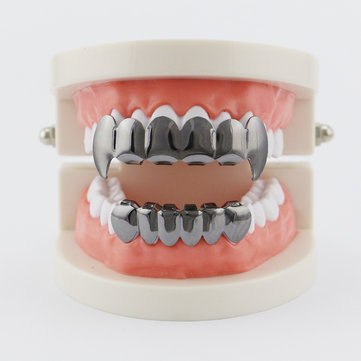 Buy  4 Colors Vintage Halloween Vampire Denture Kit Metal Geometric Glossy Braces Grillz Teeth Jewelry with Litecoins with Free Shipping on Gipsybee.com