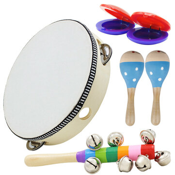 6 Piece Set Orff Musical Instruments Hand Shake Rattle Castanets Sand Hammer Vertical Bell Educational Tools Rhythm Kit for Kids Toddlers