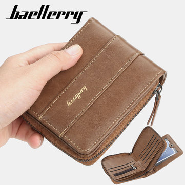 Baellerry Men Faux Leather Zipper Wallet Three-fold Creative Driving License Card Holder