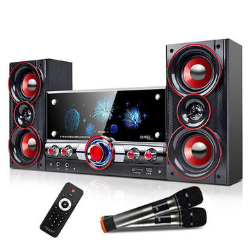Professional Wooden 2.1 bluetooth 60W Multimedia Speaker Subwoofer ECHO Loudspeaker With Dual Wireless Mic Remote Control
