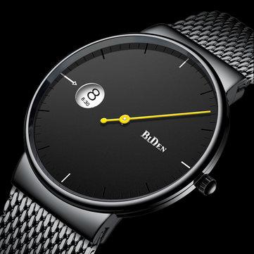 BIDEN 0049 Ultra Tipis Fashionable Men Wrist Watch Jam Quartz Kreatif