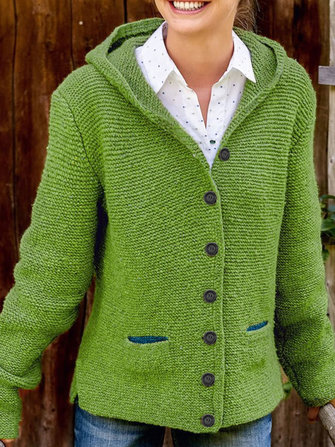 Hooded Long Sleeve Knitted Cardigans Sweaters Outerwear