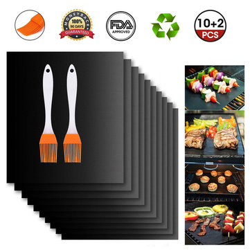 39%OFF for 12Pcs BBQ Grill Mat Miracle Non Stick Barbecue Teflon Fiber Reusable BBQ Mat with 2 Brush