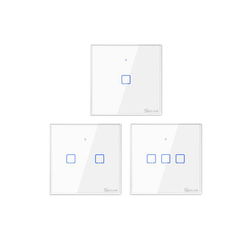 SONOFF® T1 EU/UK AC 100-240V 1/2/3 Gang TX Series WIFI Wall Switch 433Mhz RF Remote Controlled Wifi Switch Smart Home Switch Works With Alexa Google Home