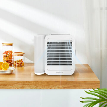MICROHOO 6W 1000ml Water Capacity White Mini Air Conditioner From Touch Screen Adjustment Energy Saving Low Noise Wind Shield