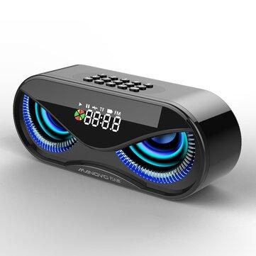 Bakeey 10W Creative Wireless bluetooth 5.0 Speaker Dual Units LED Display Alarm Clock FM Radio TF Card Stereo Speaker with Mic