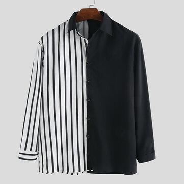 Men Stitching Pattern Black White Long Sleeve Fashion Shirts