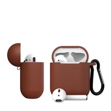 Dirose Luxury Portable PU-lær trådløs Bluetooth-øretelefonlagringsdeksel med antitapet tau og nøkkelring for Apple Airpods 1/2
