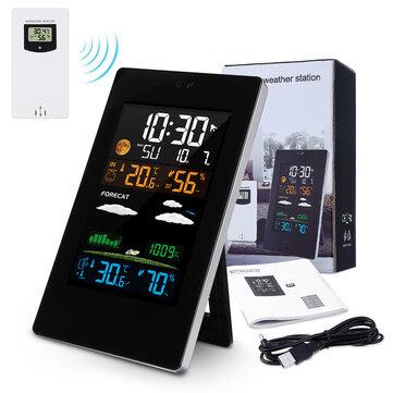 JOYXEON Stasiun Cuaca Nirkabel dengan Sensor Luar Digital Hygrometer Thermometer dan Monitor Kelembaban Prakiraan Cuaca / Tampilan Suhu dan Peringatan dengan Instruksi Manual EN / DE / FR