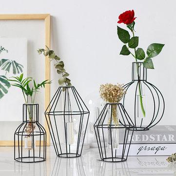 3d Nordic Metal Vase Glass Tube Hydroponic Plant Container Ornaments Home Decor Sale Banggood Com