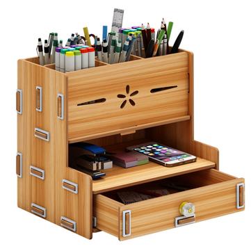 Multifunctional Storage Box Desk Personalized Decoration Wooden Desktop Organizer Cell Phone Holder Desktop Stationary Home Office Supplies Storage Rack with Drawer