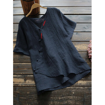Women Chinese Style Pure Color Cotton Short Sleeve Button Down T-Shirts