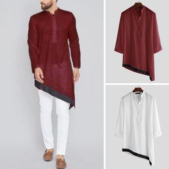 Men's Indian Casual EthnicShirt Kurta Kaftan Collarless Plain Tunic Robe Tops Tee