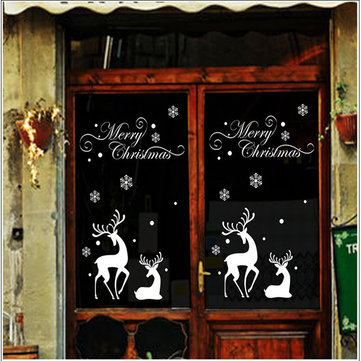Buy Miico DLX0984 Christmas Sticker Window Elk Pattern Wall Stickers Removable For Christmas Decoration with Litecoins with Free Shipping on Gipsybee.com