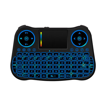 MT08 2.4G Air Mouse 6 Gyro Fly Air Mouse Rainbow Backlight Remote Control Mini Keyboard for Android Smart TV Box