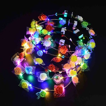 10PCS 3 Modes LED Flower Wreath Headband Garland Colorful Light Wedding Holiday Party