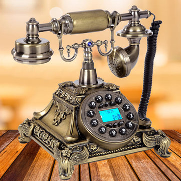 Bronze Retro Vintage Antique Telephone Push Button Dial Desk Phone Room Decor Feature Phone for sale in Litecoin with Fast and Free Shipping on Gipsybee.com