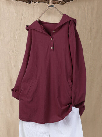 Solid Color Hooded Plus Size Blouse with Pockets