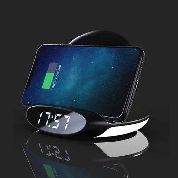 Bakeey 3w1 10W Qi Lampka nocna Budzik Uchwyt telefonu Bezprzewodowa stacja dokująca z wyjściem USB Szybkie ładowanie w pionie dla Samsung S10 + dla iPhone 11 Pro Max Xiaomi 9T Mi9 Pro HUAWEI P30Pro LG