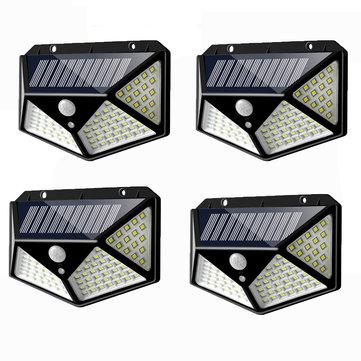 4pcs 100 LED Solar Powered PIR Motion Sensor Wall Light Outdoor Garden Lamp 3 Modes