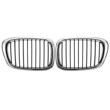 Chrome Black Front Grille Grill For BMW E39 5 Series 525 530 535 540 M5 1995-2004