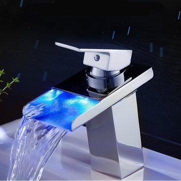 LED Brass Finish Bathroom Faucet Kitchen Tap Bathtub Sink Mix Glass Waterfall Single Handle