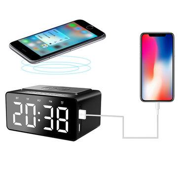 AEC BT508 Loa không dây Bluetooth Bộ sạc không dây, Sạc USB cho điện thoại Đồng hồ báo thức di động đôi Loa siêu trầm FM Radio, Điều chỉnh độ sáng ba dải