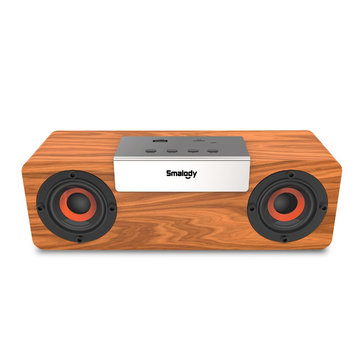 Smalody Wireless Bluetooth V5.0 TWS Wooden Speaker Stereo Portable Outdoor Sound Box Subwoofer Computer PC Soundbar TF FM Radio