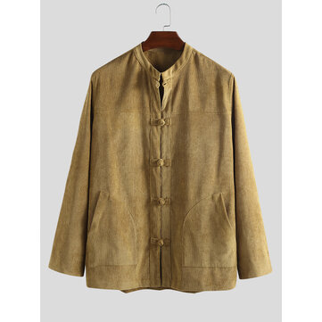 Buy Mens Long Sleeve Casual Chinese Style Corduroy Coats with Litecoins with Free Shipping on Gipsybee.com