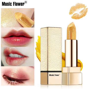 Buy Music Flower Golden Lip stick Shimmer Long lasting Water-proof Metal Moisturizing Women Makeup with Litecoins with Free Shipping on Gipsybee.com
